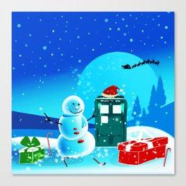 Tardis With Snow Ball Gift Christmas Canvas Print