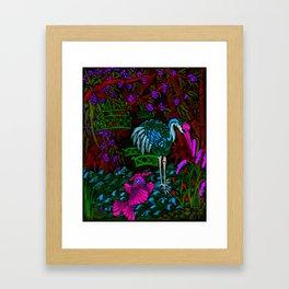 Asian Bamboo Garden in Black Velvet Watercolor Framed Art Print