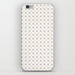Pantone Hazelnut Thin Line Stripe Grid (Pinstripe) and Polka Dots on White iPhone Skin