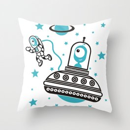 space Blue! Throw Pillow