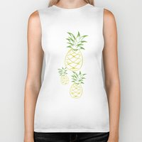 pineapple Biker Tanks featuring Pineapple by Tanya Thomas