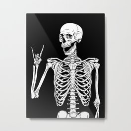 Rock and Roll Skeleton Metal Print