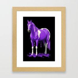 Purple Paint Horse Dripping Wet Framed Art Print