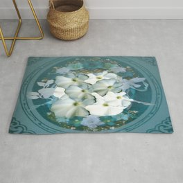 Fabulous Teal White Flowers Stained Glass Rug