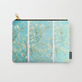 Vincent Van Gogh Almond Blossoms  Panel arT Aqua Seafoam Carry-All Pouch