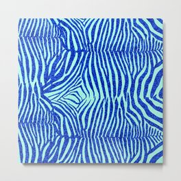 Blue Glitter Zebra Print Metal Print