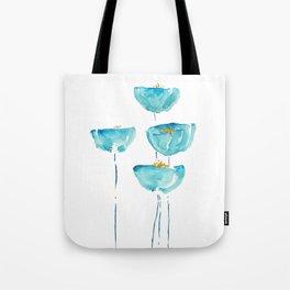 blue poppy watercolor Tote Bag