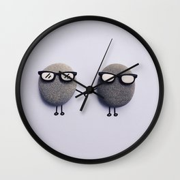 TWO LITTLE STONES HOLDING HANDS Wall Clock