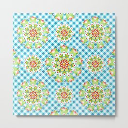 Firework Mandala on Blue Gingham Metal Print