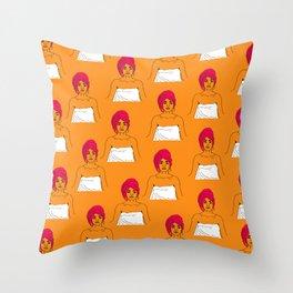 Cherry Pie Pattern in Orange Throw Pillow