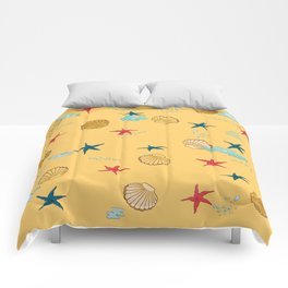 seashells and starfishes - yellow-orange Comforters