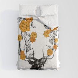The Stag and Roses | Deer and Flowers | Orange | Vintage Stag | Vintage Deer | Antlers | Woodland | Comforters
