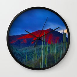 Mid Century Modern Round Circle Photo Red Mountain Sunset With Field of Green Cactus Wall Clock
