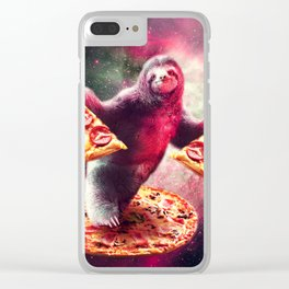Funny Space Sloth With Pizza Clear iPhone Case