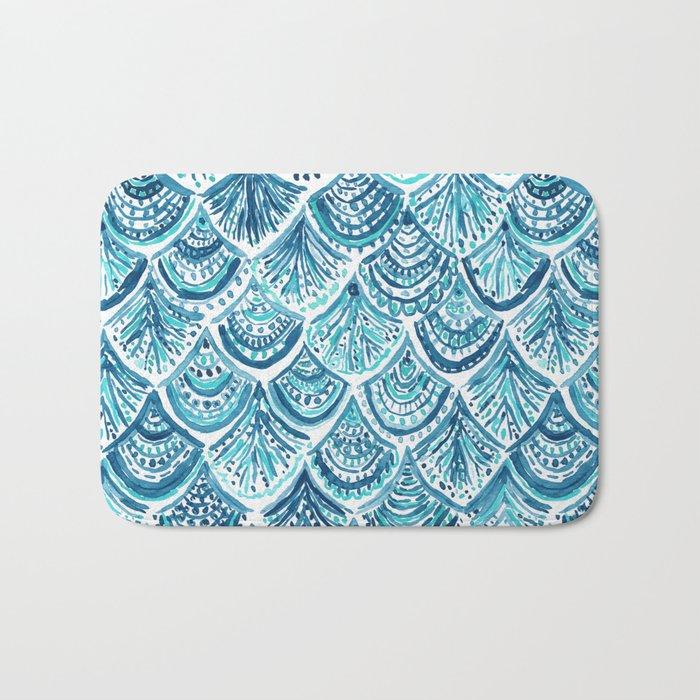 NAVY LIKE A MERMAID Fish Scales Watercolor Bath Mat