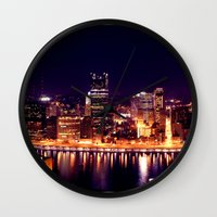 pittsburgh Wall Clocks featuring Pittsburgh  by Chandon Photography