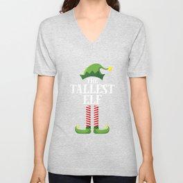 Tallest Elf Matching Family Group Christmas Party Pajama T-Shirt Unisex V-Neck