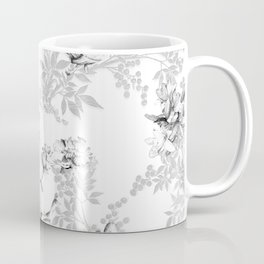 PEACOCK LILY TREE AND LEAF TOILE GRAY AND WHITE PATTERN Coffee Mug