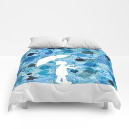 Rain girl, abstract blue drops, watercolor Comforters