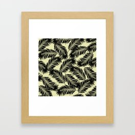 Palm Frond Tropical Décor Leaf Pattern Black on Yellow Framed Art Print