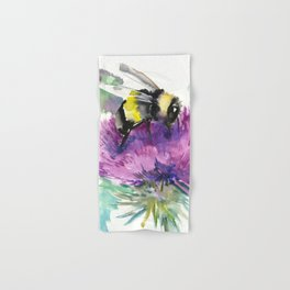 Bumblebee and Thistle Flower, honey bee floral Hand & Bath Towel