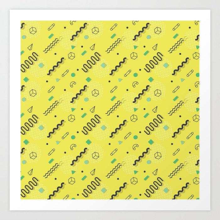 bc2f3c7374c54a Modern lime green black geometric 80s pattern Art Print by pink water