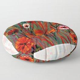 Muted Fiery Wildflowers Floor Pillow