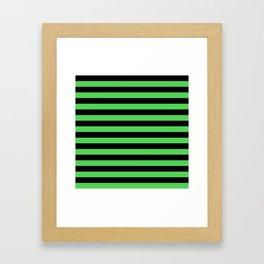 Stripes (Black & Green Pattern) Framed Art Print