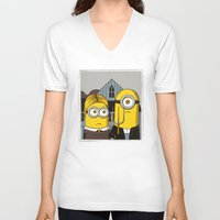 minion V-neck T-shirts featuring Minion Gothic by le.duc