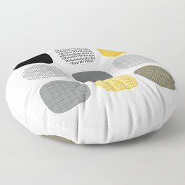 Abstract in mustard and grey Floor Pillow