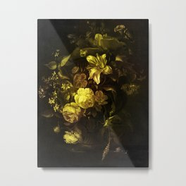 Flowers in a Vase - yellow Metal Print