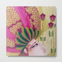 Flowers in Her Hair - Hand-painted Illustration Metal Print