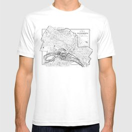 Vintage Map of Richmond Virginia (1884) BW T-shirt