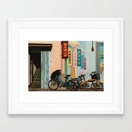 Bicycle Shadows Framed Art Print