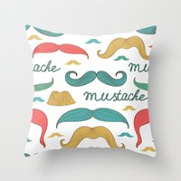 mustache Throw Pillows featuring Mustache by olillia