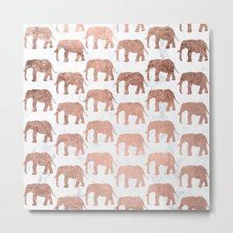 Modern faux rose gold elephants white marble Metal Print