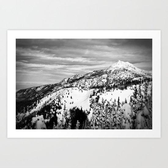 Snowy Mountain Peak Black and White Art Print