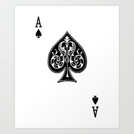 Ace Spades Spade Playing Card Game Minimalist Design Art Print