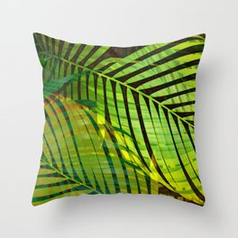 TROPICAL GREENERY LEAVES no1b Throw Pillow