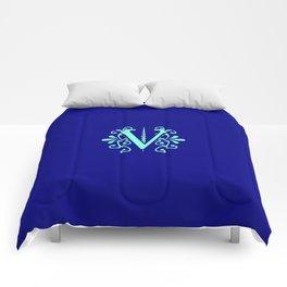 Monogram Letter V in Aqua on Navy Blue Comforters