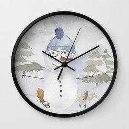 Winter Wonderland - Funny Snowman and friends - Watercolor illustration Wall Clock
