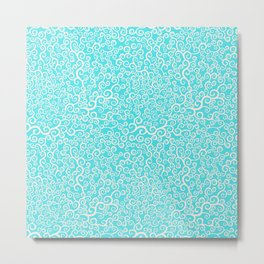 curly elements blue pattern Metal Print