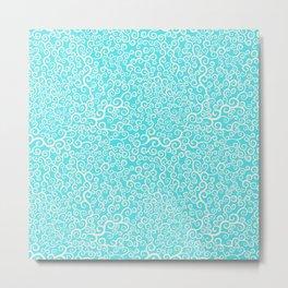 curly elements blue pattern Metal Print