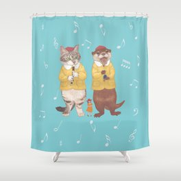 A GIRL WITH CAT and OTTER wide Shower Curtain
