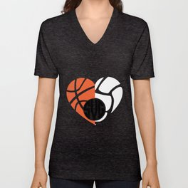 Basketball and volleyball monogram basketball volleyball SVG DXF EPS file for svgs sports monogram t Unisex V-Neck