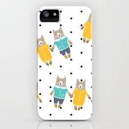 Cute bears in dotted background iPhone Case