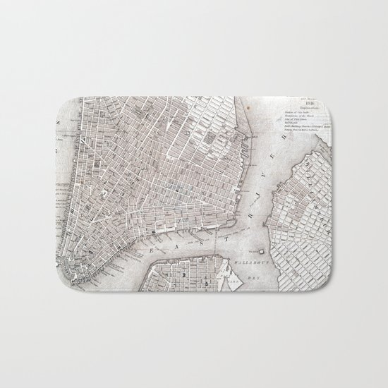 Vintage New York City Map Bath Mat
