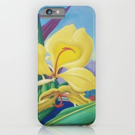 Yellow Ginger Orchid still life painting by Artist Unknown iPhone Case