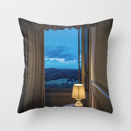 Panoramic view of the rolling hills of Chianti through a window at sunset Throw Pillow