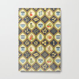 Pasta Fun Pattern Metal Print